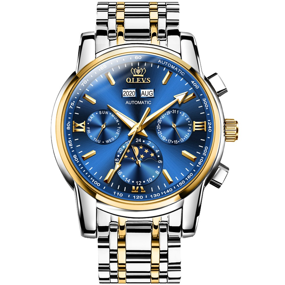 Olevs 6633 reloj mecánico automático de los hombres Jam Tangan: Original impermeable de acero cronógrafo deportivo marca de lujo | Shopee México