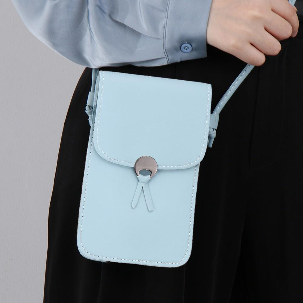 New Crossbody Bag Soft PU Leather Mobile Phone Bag Mini Transparent Touchable