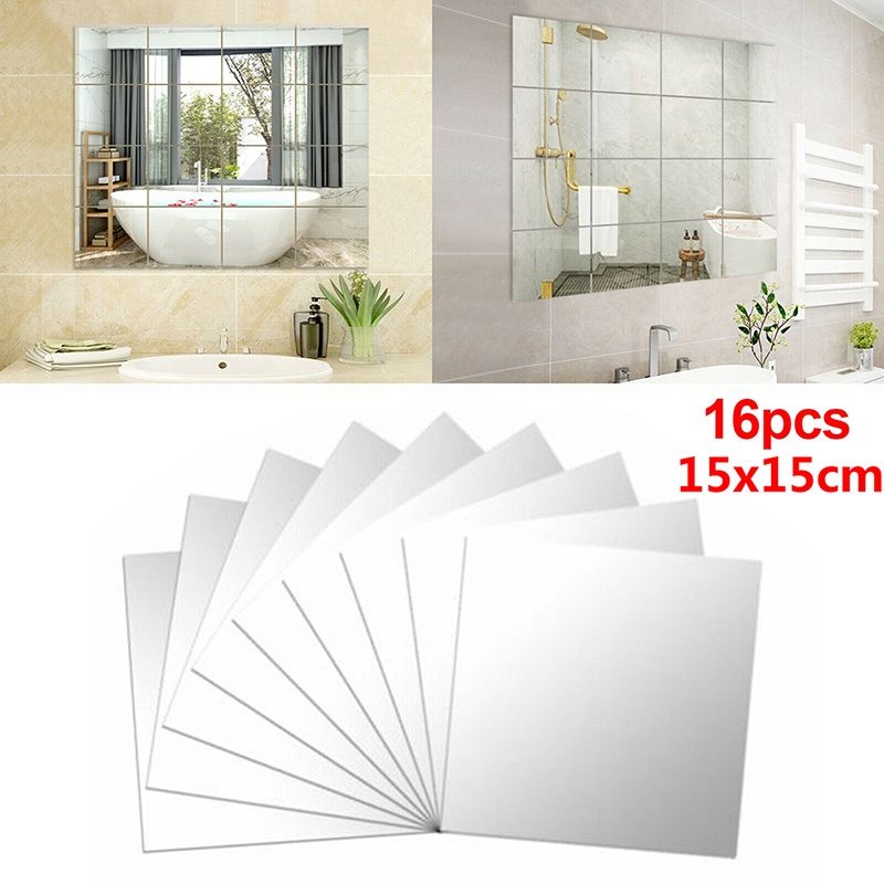 16 Pcs Diy Mirror Tile Wall, What Adhesive To Use For Mirror Tiles