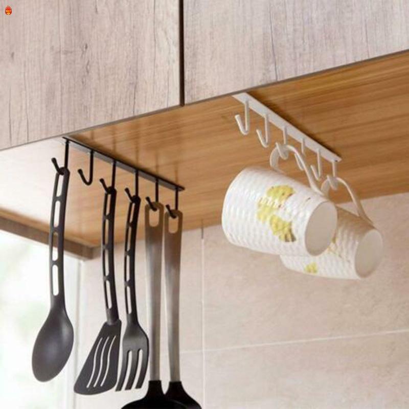Under Cabinet Hanger Rack 6 Hooks, Kitchen Cabinet Hanging Rack